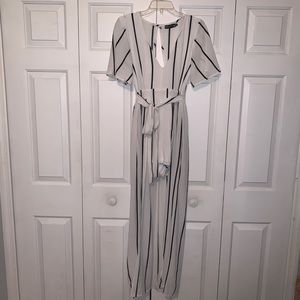 Pants - White with black stripes romper with overlay skirt